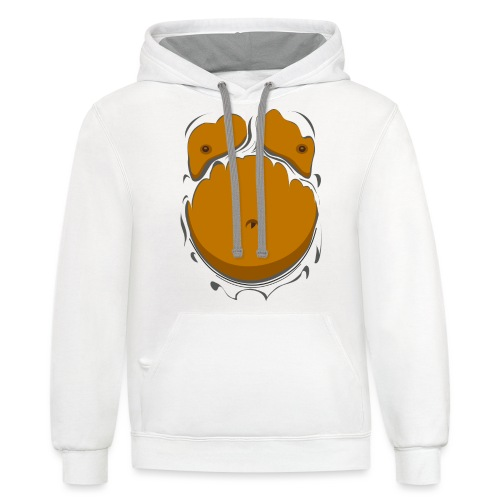 Comic Fat Belly, beer gut, beer belly, chest t-shirt - Contrast Hoodie