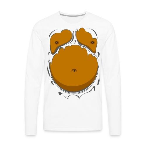 Comic Fat Belly, beer gut, beer belly, chest t-shirt - Men's Premium Long Sleeve T-Shirt