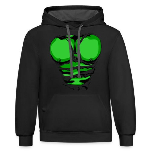 Ripped Muscles Green, six pack, chest T-shirt - Contrast Hoodie