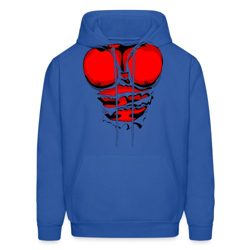 Ripped Muscles Red, six pack, chest t-shirt - Men's Hoodie