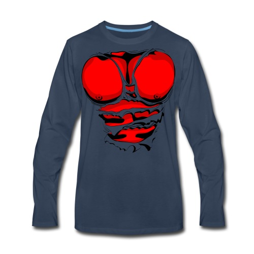 Ripped Muscles Red, six pack, chest t-shirt - Men's Premium Long Sleeve T-Shirt