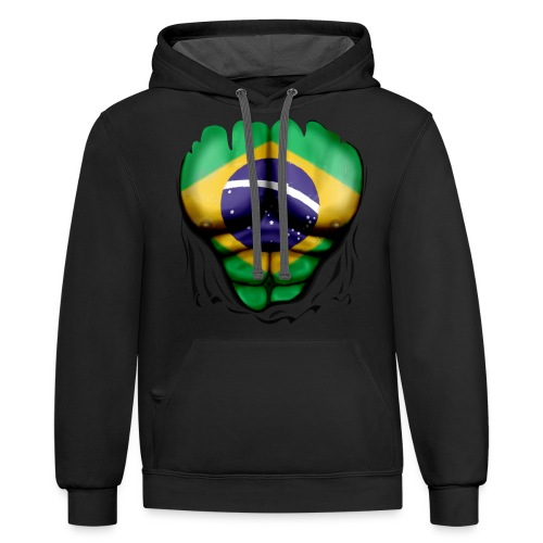 Brazil Flag Ripped Muscles, six pack, chest t-shirt - Contrast Hoodie