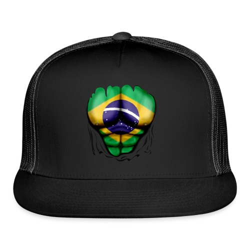 Brazil Flag Ripped Muscles, six pack, chest t-shirt - Trucker Cap