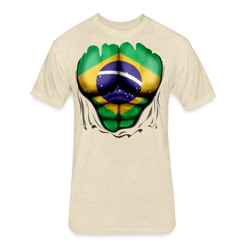 Brazil Flag Ripped Muscles, six pack, chest t-shirt - Fitted Cotton/Poly T-Shirt by Next Level