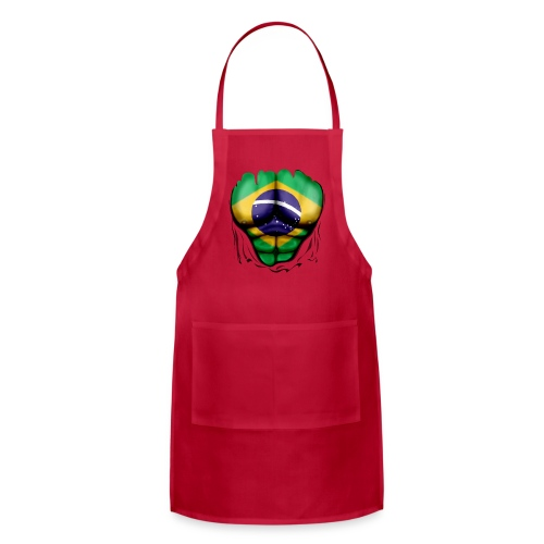 Brazil Flag Ripped Muscles, six pack, chest t-shirt - Adjustable Apron