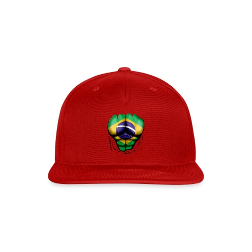 Brazil Flag Ripped Muscles, six pack, chest t-shirt - Snap-back Baseball Cap