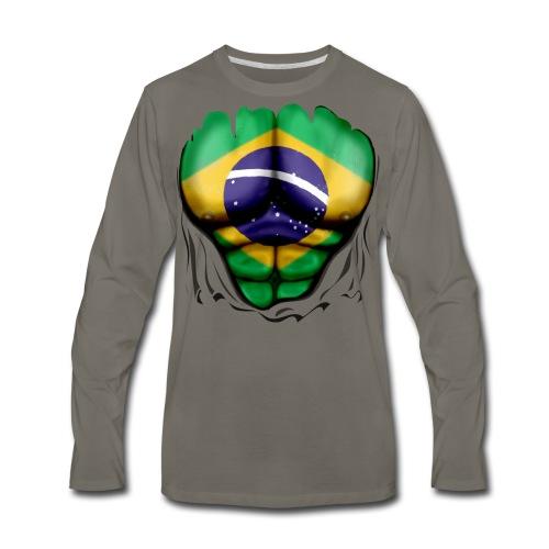 Brazil Flag Ripped Muscles, six pack, chest t-shirt - Men's Premium Long Sleeve T-Shirt