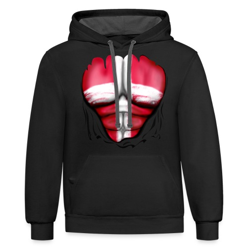 Denmark Flag Ripped Muscles, six pack, chest t-shirt - Contrast Hoodie