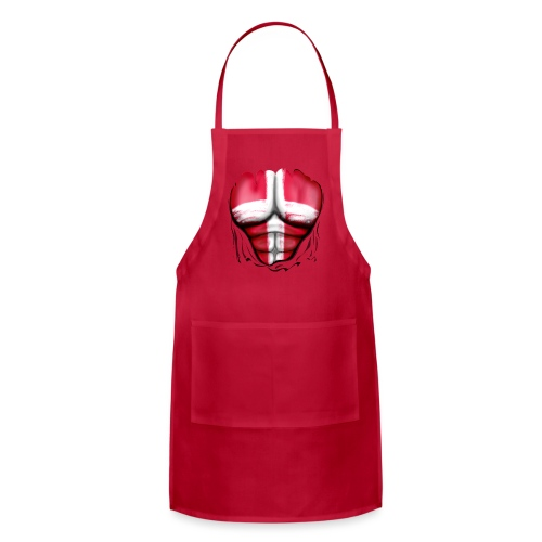 Denmark Flag Ripped Muscles, six pack, chest t-shirt - Adjustable Apron