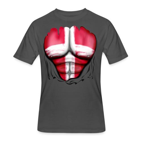 Denmark Flag Ripped Muscles, six pack, chest t-shirt - Men's 50/50 T-Shirt