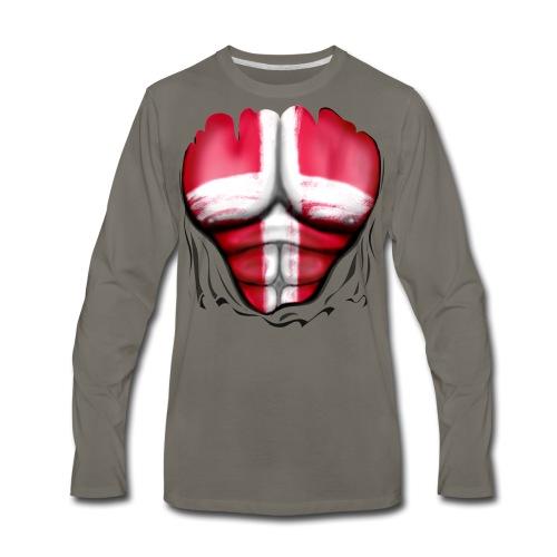 Denmark Flag Ripped Muscles, six pack, chest t-shirt - Men's Premium Long Sleeve T-Shirt