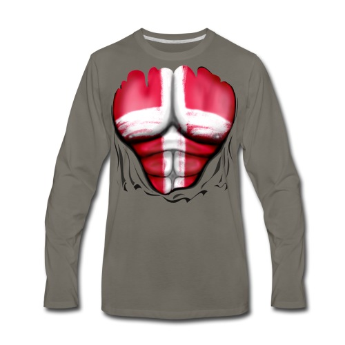 Denmark Flag Ripped Muscles, six pack, chest t-shirt - Men's Premium Long Sleeve T-Shirt