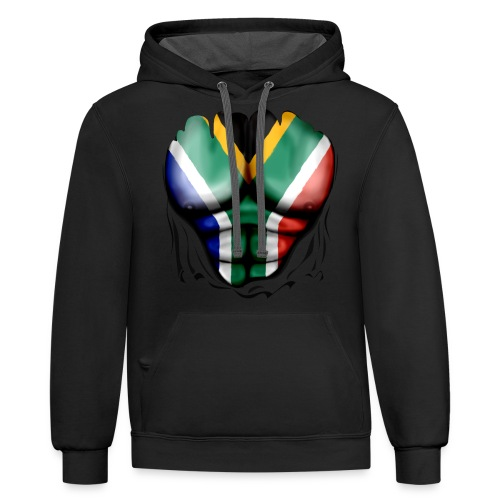 South Africa Flag Ripped Muscles, six pack, chest t-shirt - Contrast Hoodie