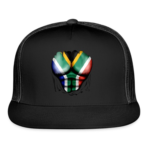 South Africa Flag Ripped Muscles, six pack, chest t-shirt - Trucker Cap