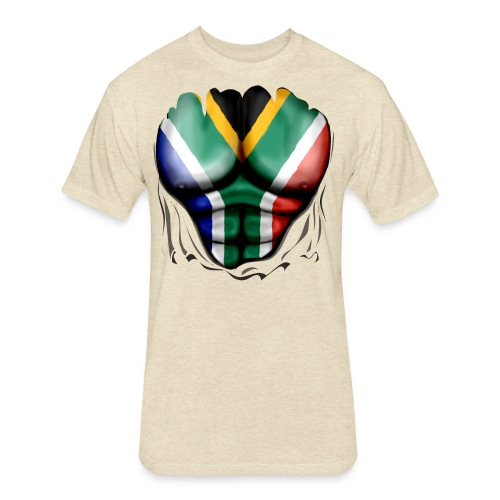 South Africa Flag Ripped Muscles, six pack, chest t-shirt - Fitted Cotton/Poly T-Shirt by Next Level