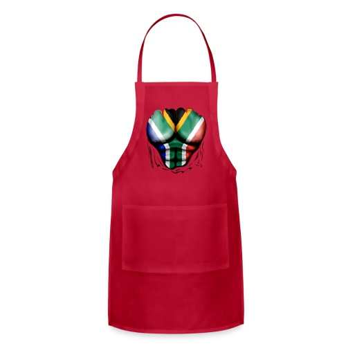 South Africa Flag Ripped Muscles, six pack, chest t-shirt - Adjustable Apron