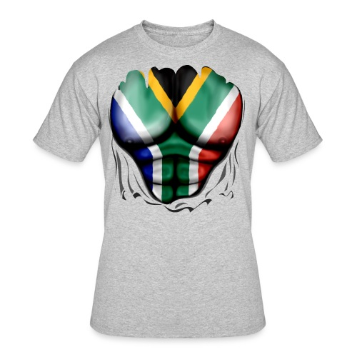 South Africa Flag Ripped Muscles, six pack, chest t-shirt - Men's 50/50 T-Shirt