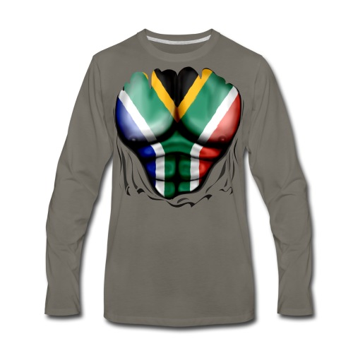 South Africa Flag Ripped Muscles, six pack, chest t-shirt - Men's Premium Long Sleeve T-Shirt