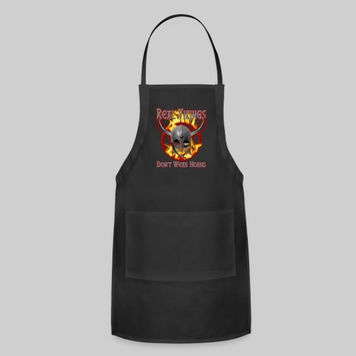 Real Vikings Don't Wear Horns - Black T-Shirt - Adjustable Apron