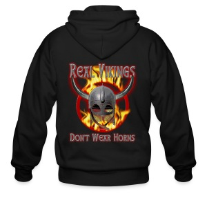 Real Vikings Don't Wear Horns - Black T-Shirt - Men's Zip Hoodie