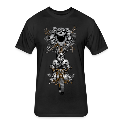 Skull Tree Dirt Biker - Fitted Cotton/Poly T-Shirt by Next Level