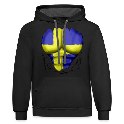 Sweden Flag Ripped Muscles, six pack, chest t-shirt - Contrast Hoodie