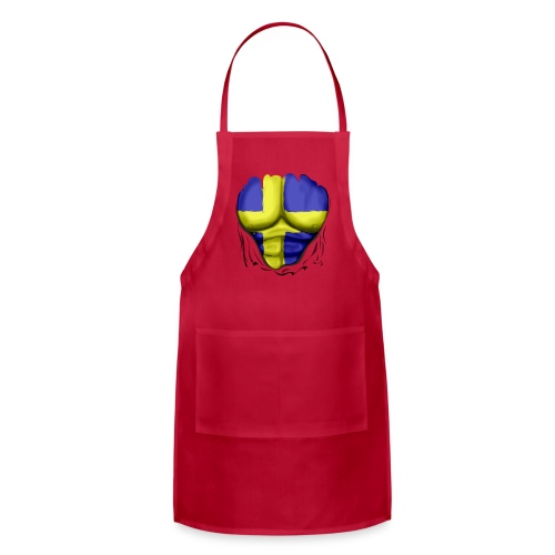 Sweden Flag Ripped Muscles, six pack, chest t-shirt - Adjustable Apron