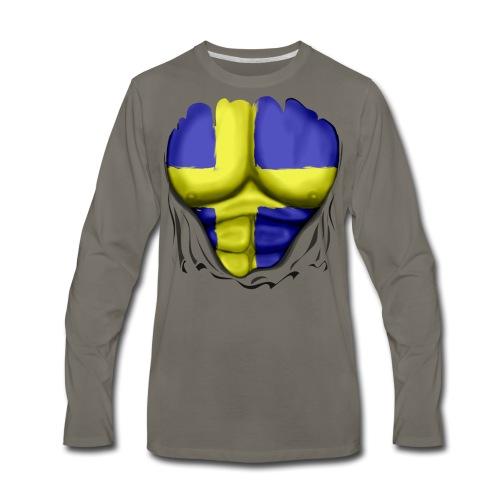 Sweden Flag Ripped Muscles, six pack, chest t-shirt - Men's Premium Long Sleeve T-Shirt