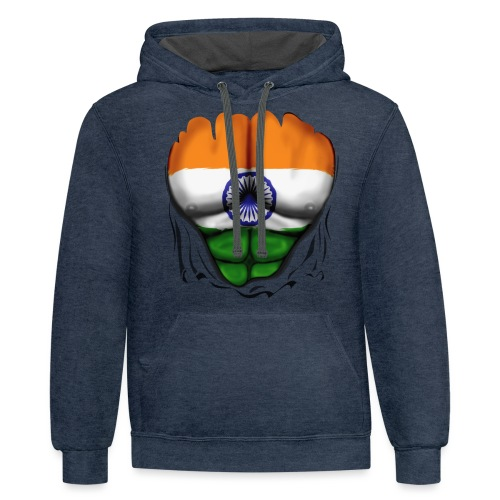 India Flag Ripped Muscles, six pack, chest t-shirt - Contrast Hoodie