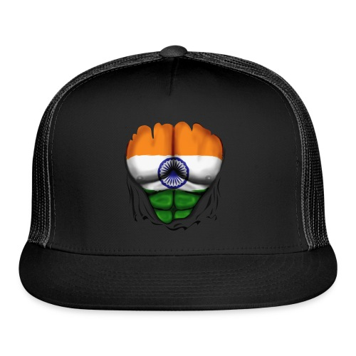 India Flag Ripped Muscles, six pack, chest t-shirt - Trucker Cap