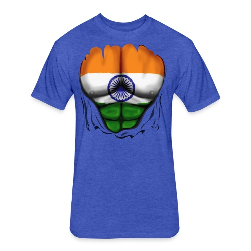 India Flag Ripped Muscles, six pack, chest t-shirt - Fitted Cotton/Poly T-Shirt by Next Level