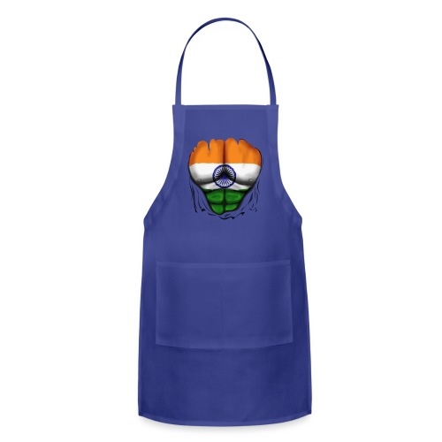 India Flag Ripped Muscles, six pack, chest t-shirt - Adjustable Apron