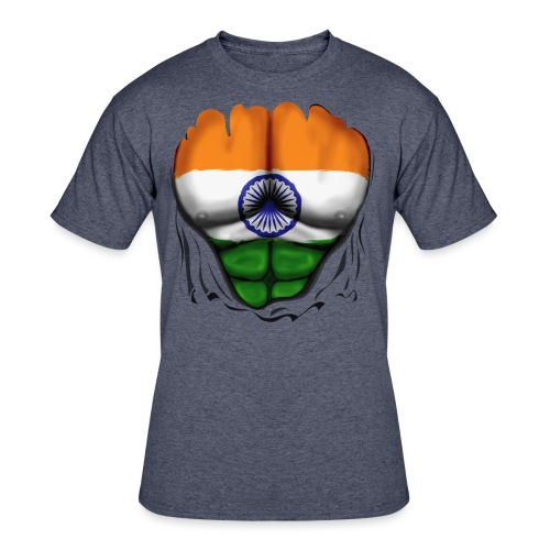 India Flag Ripped Muscles, six pack, chest t-shirt - Men's 50/50 T-Shirt