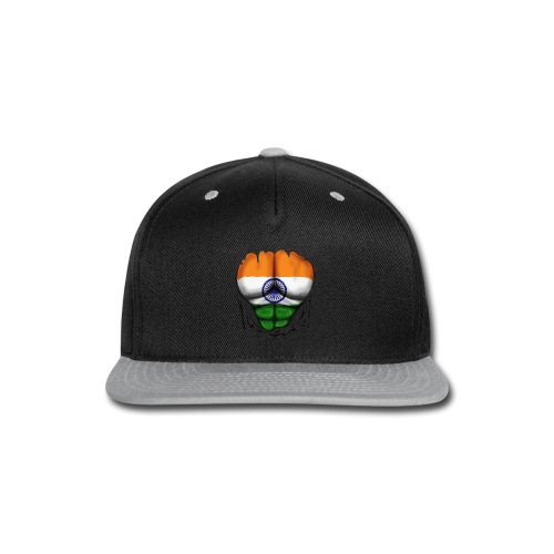 India Flag Ripped Muscles, six pack, chest t-shirt - Snap-back Baseball Cap