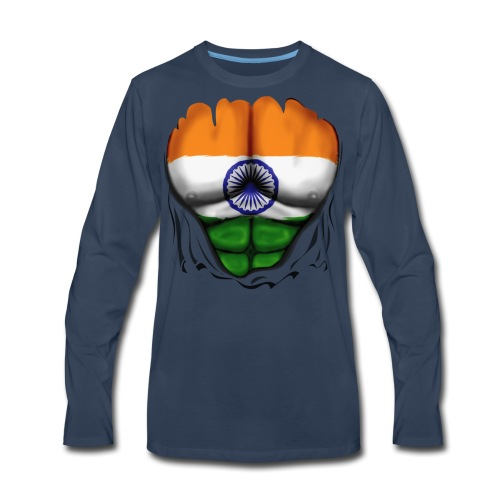 India Flag Ripped Muscles, six pack, chest t-shirt - Men's Premium Long Sleeve T-Shirt