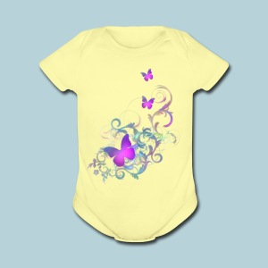 Bright Purple Butterflies - Short Sleeve Baby Bodysuit