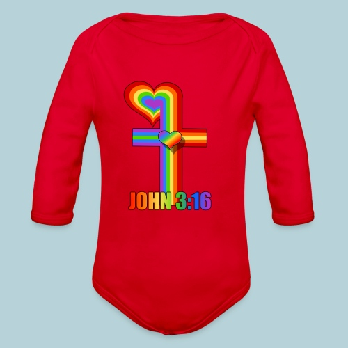 John 3:16/ Rainbow Cross - Organic Long Sleeve Baby Bodysuit
