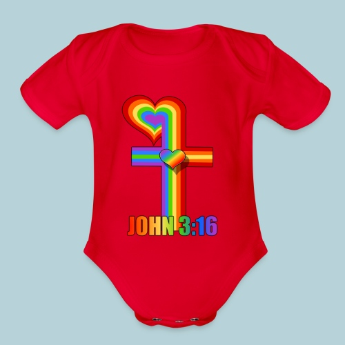 John 3:16/ Rainbow Cross - Organic Short Sleeve Baby Bodysuit