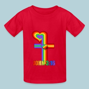 John 3:16/ Rainbow Cross - Kids' T-Shirt