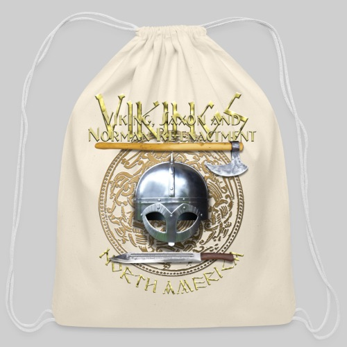 Vikings North America T-Shirt Logo Front/Tagline Back - Cotton Drawstring Bag
