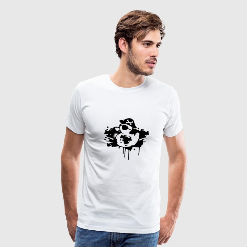 A rubber duck pirate with a pirate hat and eye patch as a graffiti T-Shirts - Men's Premium T-Shirt