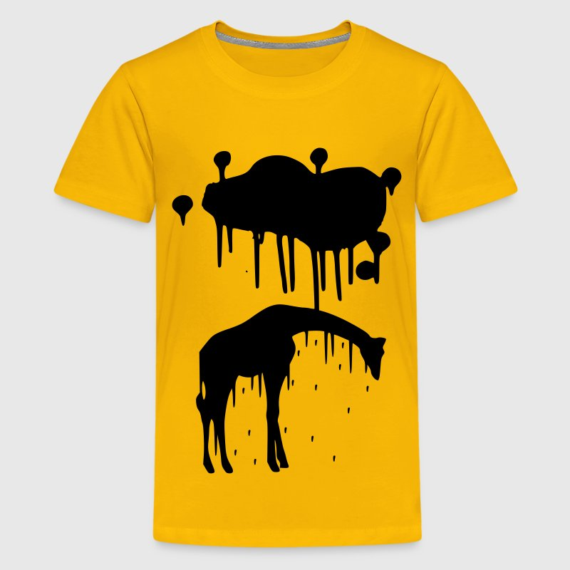 Giraffe Graphic Design Picture Vector - Cool Black Animal Graffiti Giraffe Getting Rained on By a Paint Splatter Cloud! Emo, sad, funny, joke, cute Great for Ipad cases, iphone cases, hoodies, tshirts, tank tops, etc! Kids' Shirts - Kids' Premium T-Shirt