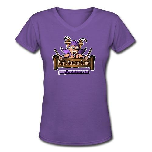 Purple Sorcerer Logo - Women's V-Neck T-Shirt