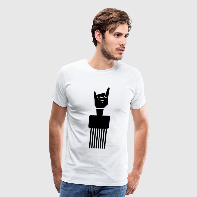Devil Horns Afro Pick T-Shirts - Men's Premium T-Shirt