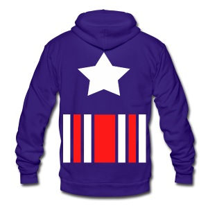 Captain America Inspired T-shirt - Unisex Fleece Zip Hoodie by American Apparel