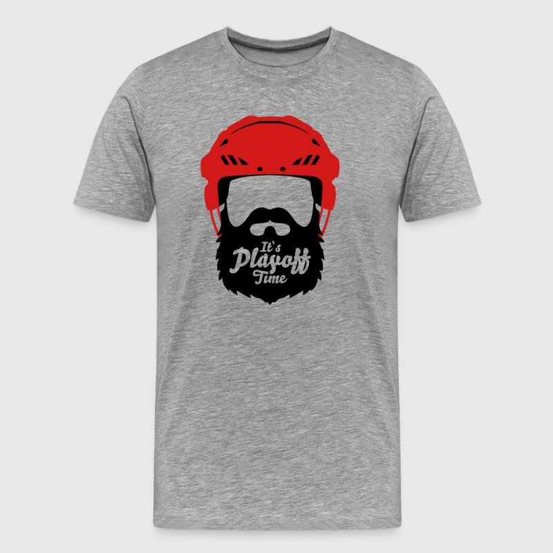 Hockey Helmet with Beard - it`s Playoff Time T-Shirts - Men's Premium T-Shirt