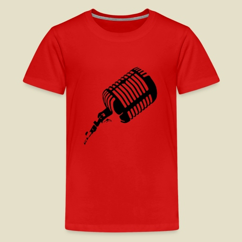 Classic Microphone Design in Black Leaning Back