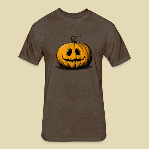 Happy Halloween Jack O'Lantern Adult Brown Tshirt - Fitted Cotton/Poly T-Shirt by Next Level