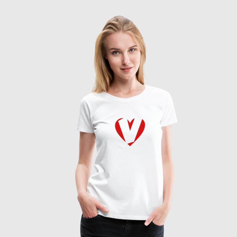 I love V T-Shirt - Heart V - Heart with letter V - Women's Premium T-Shirt