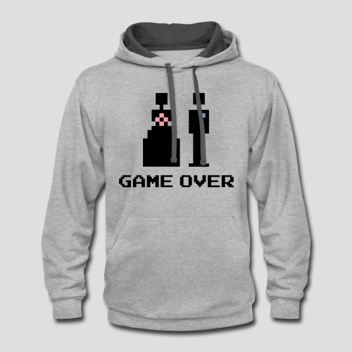 8 Bit Game Over Marriage - Contrast Hoodie
